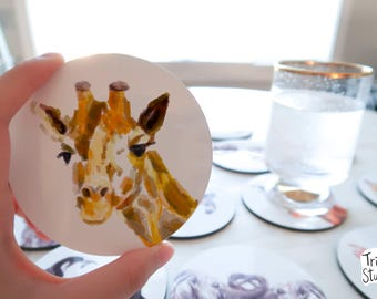 Giraffe Coaster - Cute Woodland  Simple Drinks Mat - Durable Zoo Round Coaster Set - Animal Lover Gift Idea