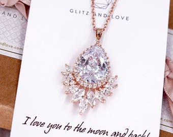 Rose Gold Wedding Bride Bridesmaid Gift Bridal Earrings Necklace Bracelet Jewelry Set Clear Cubic Zirconia Teardrop Ear Studs N227