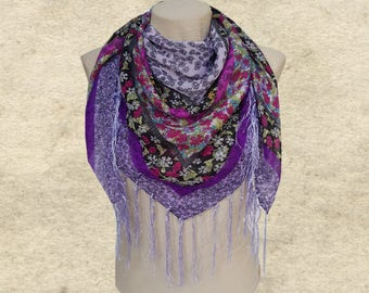 Square scarf shawl,  Women's purple scarf, Womens square scarf, Clothing accessory,  Lilac trendy scarf, ladies scarf,  Women's wrap shawl,