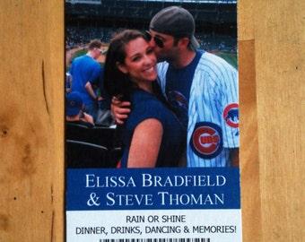 Baseball, Football, or Hockey Save the Date Tickets + FREE Custom Monogram Design - Wedding Save the Date