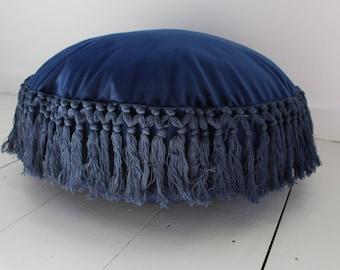 Blue Velvet Tasseled Cushion