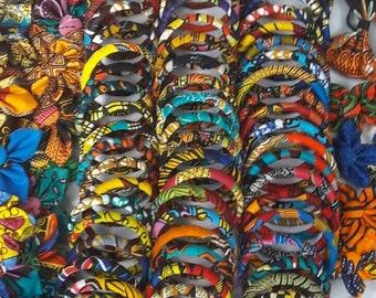 Kente bangles-Ankara bangles-Handmade-African print-Bracelets-African jewelry-Gift for her