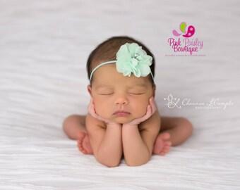 Baby Headband - You Pick 1 Infant Headband - Mint Hairbows - Baby Girl Headbands - Baby Hair bows - headband baby - Baby bows-Alligator Clip