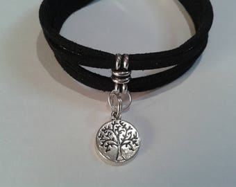 Tree of life black and silver, adjustable bracelet.