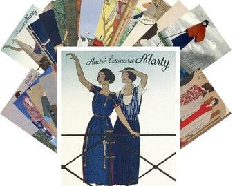 Postcards Set 24pcs * Ponchoir by Andre Marty Vintage La Vie Parisien CC1036