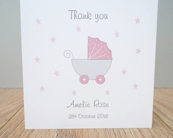 Personalised Baby Girl Thank You Cards - Baby Thank you cards - personalised baby thank you cards - packs of baby thank you cards