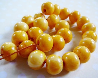Caramel Polyester Bead, 11mm round, strand beading supplies for jewelry making