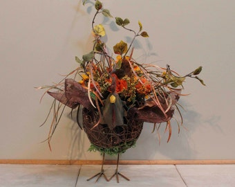 Fall Wire Basket Rooster Floral Arrangement Pams DeZines Fall Rooster Floral Arrangement (Item 284)
