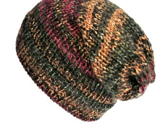 Multicoloured slouch hat slouchy beanie hat slouchy beanie woman grunge beanie woman knit beanie knit beanie hat slouchy knit hat lelsloom