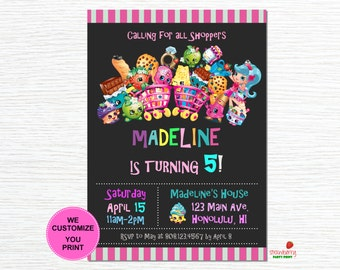 Shopkins Invitation Digital, Shopkins Invitation Printable, Shopkins Birthday Invitation, Shopkins Invitation, Digital File