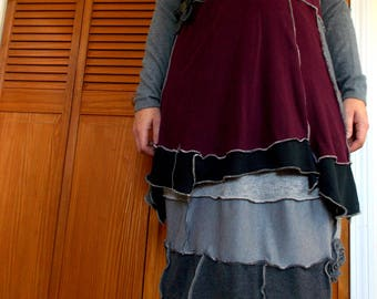 Cowl Sweater Dress Patchwork M/L Medium Large Ruffled Floral Flower Recycled Wool Eco Friendly Black Gray Plum Olive Earthy