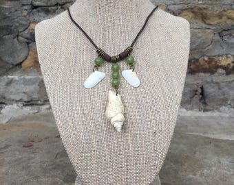 Whelk and Coquina shell necklace