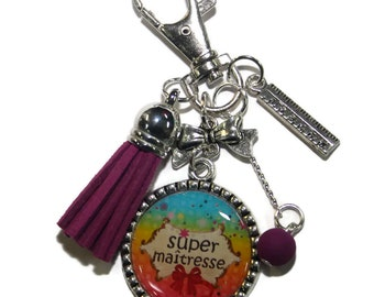 Door key/bag charm great teacher/fine year/birthday gift