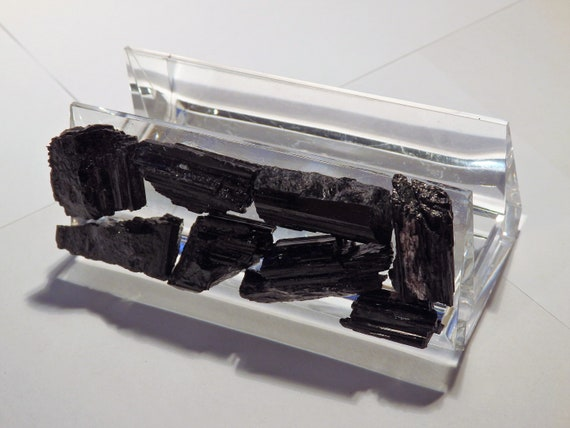 Black tourmaline and lucite business card holder colourmoves Gallery