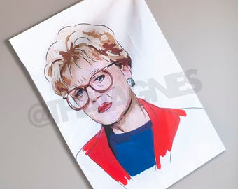 Murder She Wrote illustrated tea towel. Handmade and exclusive to ThatAgnes!