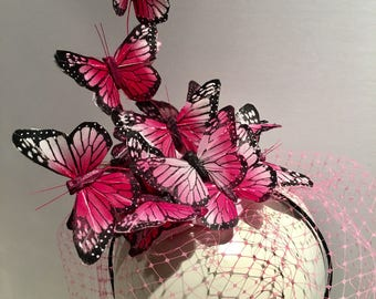 Pink Fascinator- butterfly Fascinator- Butterfly Headdress- Butterfly hat- Derby fascinator -Kentucky Derby- Derby Hat- Mad Hatter - polo