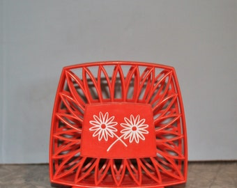 Retro Orange Daisy Napkin Holder ~ 60s Kitchen