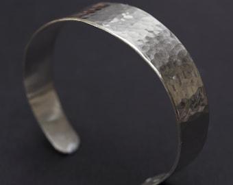 Sterling Silver Bangle, Hammered Sterling Silver Cuff Bracelet, Silver Bracelet, Hammered Silver Bracelet, Cuff Bracelet for Man or Woman