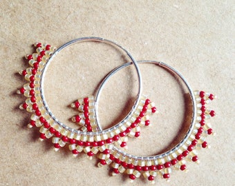 Beaded Hoop Earrings Sterling Silver Wire Hoops Gold Lined Straw + Oxblood Glass Beads