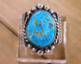 Vintage Large Turquoise Sterling Silver Ring Size 9.5