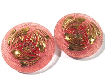 27mm Czech Buttons TWO (2) Hand Painted Foliage VINTAGE Czech Glass Button Pink Gold Luster Czech Glass Wedding Jewelry Supplies (T202)