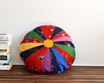 Colorful Patcwork Pillow Cover - 23 inch Diameter - Applique Pillow - Patchwork Pillow Cover - Throw Pillow - Floor Pillow