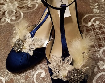 Navy Blue Wedding Shoes Vintage 30s 40s style, Something Blue, Satin Rounded Toe,Closed Toe,D'Orsay Style T Strap,Old Hollywood,Great Gatsby