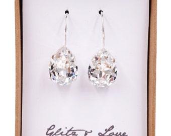 Simple Swarovski Crystal Teardrop Earrings, Clear Crystal Silver plated, brides bridesmaid bridal shower wedding gifts E92