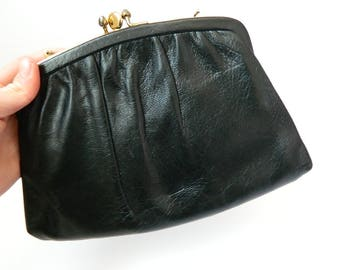Vintage Black Leather Evening Bag that Converts into a Clutch