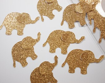 Glitter Gold Elephant Party Decoration, Baby Shower Jungle Safari Confetti, Birthday Glitter Gold or Silver Elephant Cutouts, 20 Ct.