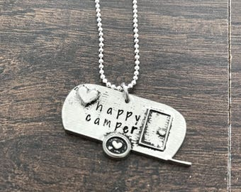 Happy Camper Necklace. Hand Stamped. Gift for her. Personalized. Air Stream Trailer Necklace. Glamping