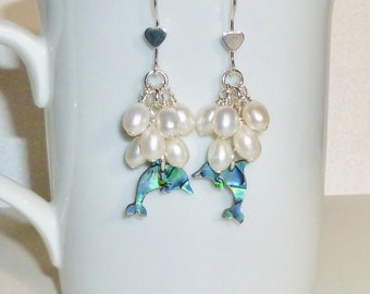 Dolphin Paua Shell and Cluster Pearl Earrings, Sterling Silver Dolphin Laminated Shell and Pearl Dangle Earrings