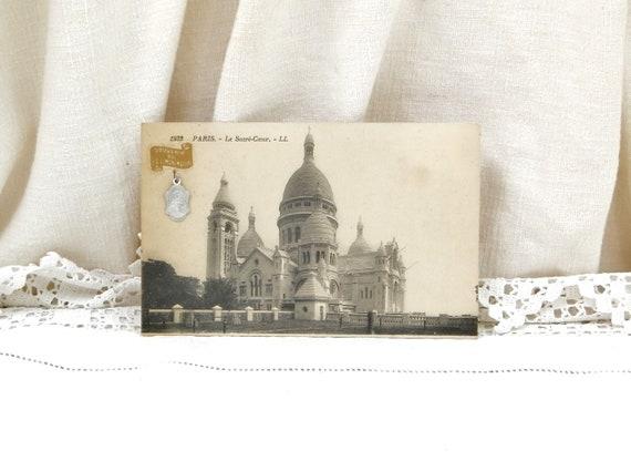 Antique French Black and White Postcard View of Sacre Coeur de Montmartre Paris with Religious Medal of Jesus Christ, Retro Catholic Charm