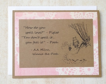 How Do You Spell Love - Winnie the Pooh Quote - Classic Piglet and Pooh Note Card Light Pink Border