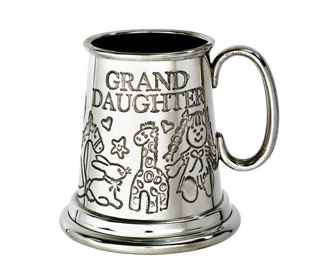 Personalised Grandaughter Embossed Pewter Childs Mug Customised Engraved Message