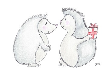Happy Anniversary Hedgehogs Drawing Card, comes with seal and envelope, made on recycled paper