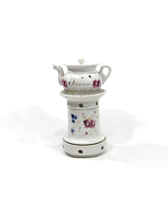 Antique French Teapot & Warming Stand, Veilleuse Theieres, Hand Painted Flowers Bon Nuit, French Country Shabby Chic, China Porcelain