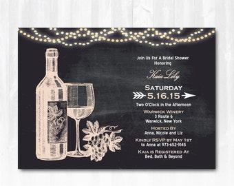 Wine bridal shower invitations printable barn wood winery wine wine bridal shower invitation with string lights diy printable digital file or print extra filmwisefo
