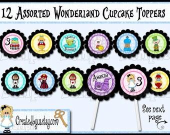 Wonderland Cupcake toppers Onederland party Wonderland birthday Decorations Tea party Birthday Wonderland baby shower toppers 12 assembled