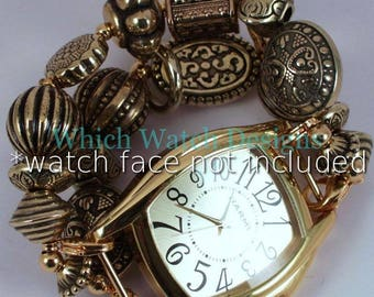 Chunky Gold.. All Gold Plated Beaded Watch Band, Interchangeable, Stretchy
