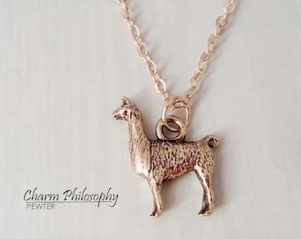 Llama Necklace - 3D Reversible Llama Charm - Llama Jewelry - Antique Gold Pewter Jewelry