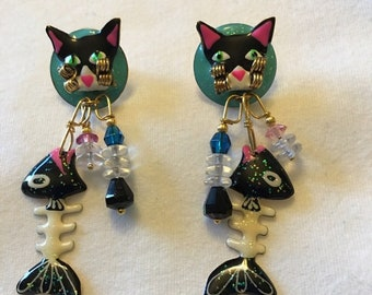 Vintage Lunch At The Ritz Cajun Catfishs  Cat Post Earrings