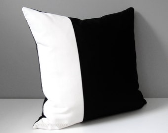 Black White Outdoor Pillow Cover, Modern Color Block Pillow Cover, Decorative Pillow Case, Masculine Sunbrella Cushion Cover, Mazizmuse