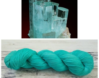 Hand Dyed Yarn, Merino and Nylon Fingering Weight Sock Yarn Perfect for Socks, Shawls, Other Lightweight Accessories - Aquamarine
