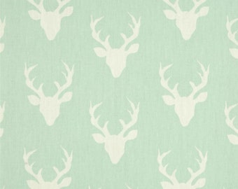 """Deer Fabric, Stag Antlers, Hello Bear, Buck Forest Mint, 100% Cotton, 44"""" Wide, by the half yard"""
