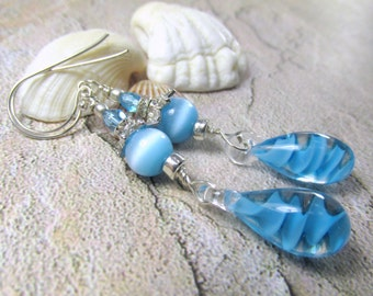 Blue Turquoise Blown Glass Swirly Drops, Catseye, and Czech Glass Beads on Sterling Silver Wires