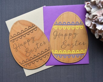 Easter Card.  Easter Egg Wood Card. Easter Wishes Greeting Card.