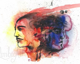 Watercolour Gouache Art Print, Abstract Portraits, Poster