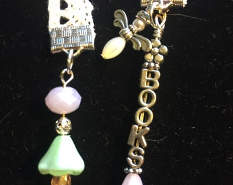 Pink and green Bookmark on lace
