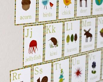 Kids Educational Flash Cards, Nursery Alphabet Flash Cards, Nursery Wall Art Flash Cards, Alphabet Wall Flash Cards, Children's Flash Cards